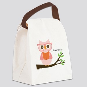 Cute Owl Reading Canvas Lunch Bag
