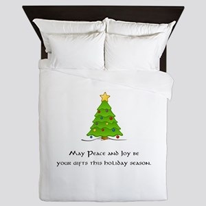 Peace Joy Christmas Tree Gifts Queen Duvet