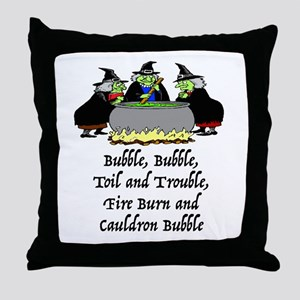 HALLOWEEN - BUBBLE BUBBLE TOIL AND TR Throw Pillow
