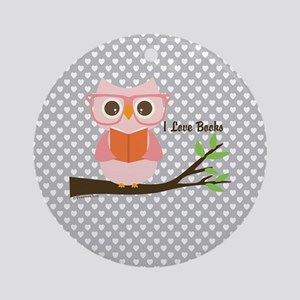 Cute Owl Reading Round Ornament