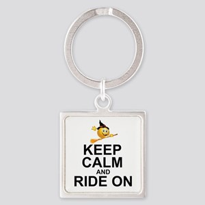 KEEP CALM AND RIDE ON Square Keychain