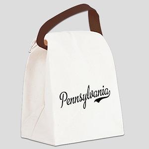 Pennsylvania Script Black Canvas Lunch Bag