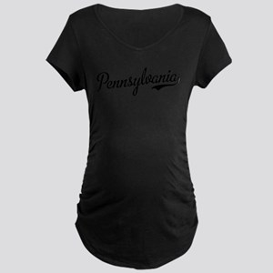 Pennsylvania Script Black Maternity Dark T-Shirt