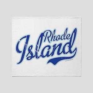 Rhode Island State Script Font Vintage Throw Blank