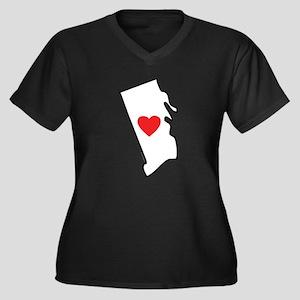 I Love Rhode Women's Plus Size V-Neck Dark T-Shirt