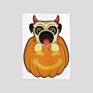 Halloween Pug 5'x7'Area Rug