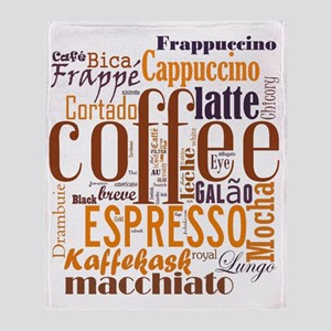 Coffee word cloud collage Throw Blanket