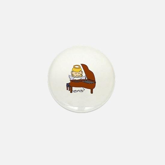 Girl Angel Playing Piano Mini Button