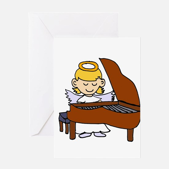 Girl Angel Playing Piano Greeting Cards