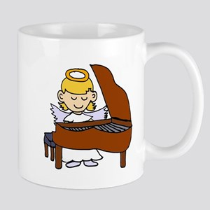Girl Angel Playing Piano Mugs