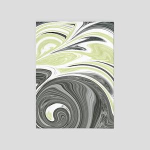 Dark Gray and Yellow 5'x7'Area Rug