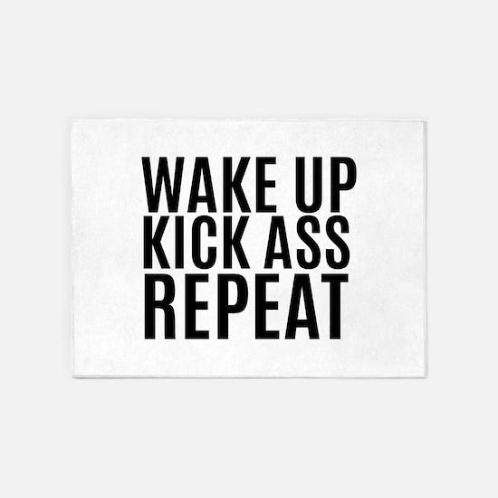 Wake Up Kick Ass Repeat 5'x7'Area Rug
