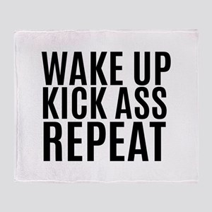 Wake Up Kick Ass Repeat Throw Blanket