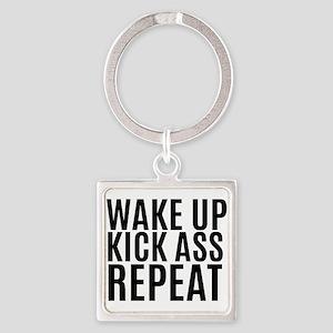 Wake Up Kick Ass Repeat Keychains