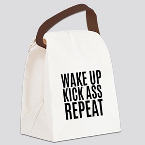 Wake Up Kick Ass Repeat Canvas Lunch Bag