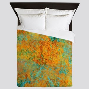 Abstract Fire and Ice Emerald Queen Duvet