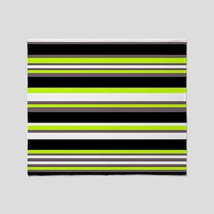 Horizontal Stripes Pattern: Chartreu Throw Blanket