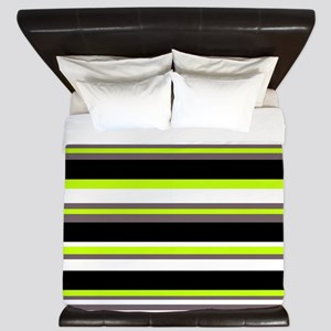 Horizontal Stripes Pattern: Chartreuse King Duvet