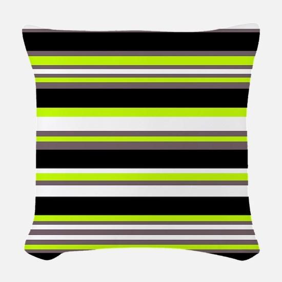 Horizontal Stripes Pattern: Ch Woven Throw Pillow
