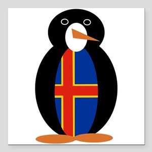 "Aland Islands Penguin Square Car Magnet 3"" x 3"""