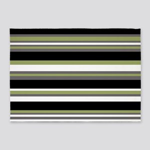 Horizontal Stripes Pattern: Moss Gr 5'x7'Area Rug