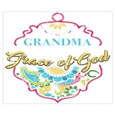 Grandma By The Grace Of God Shirt Gift Id Wall Art Poster