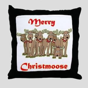 Merry Christmoose Throw Pillow
