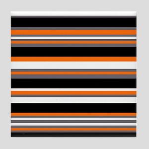 Horizontal Stripes Pattern: Orange Tile Coaster