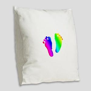 Rainbow Baby Feet Burlap Throw Pillow