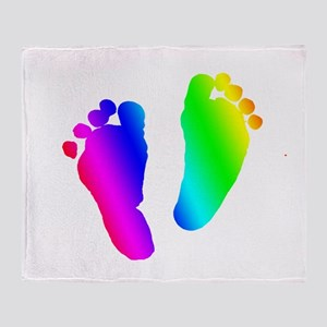 Rainbow Baby Feet Throw Blanket