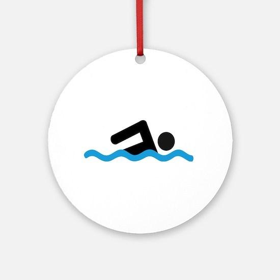 Cute Swim Round Ornament