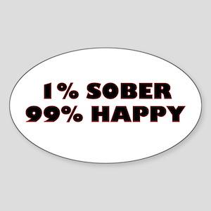 1% Sober Oval Sticker