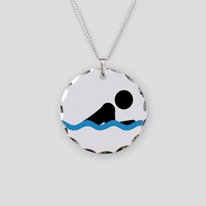 breaststroke Necklace Circle Charm