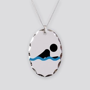 breaststroke Necklace Oval Charm