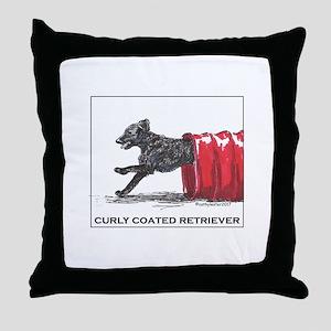 Curly Coated Retriever Agility Throw Pillow
