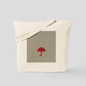 Red Umbrella Beige Tote Bag