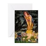 Fairies & Black Pug Greeting Card