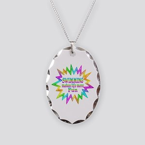 Swimming Makes Life More Fun Necklace Oval Charm
