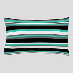 Horizontal Stripes Pattern: Turquoise Pillow Case