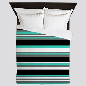 Horizontal Stripes Pattern: Turquoise Queen Duvet
