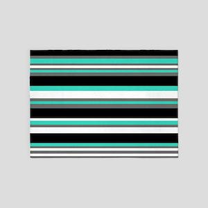 Horizontal Stripes Pattern: Turquoi 5'x7'Area Rug