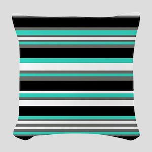 Horizontal Stripes Pattern: Tu Woven Throw Pillow