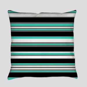 Horizontal Stripes Pattern: Turquo Everyday Pillow