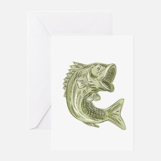 Largemouth Bass Fish Etching Greeting Cards