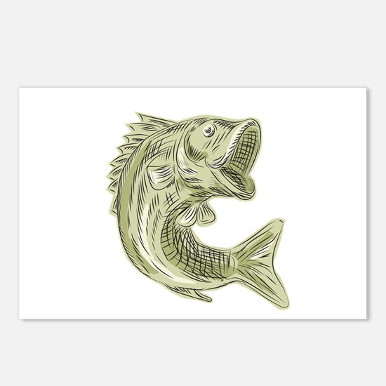 Largemouth Bass Fish Etching Postcards (Package of