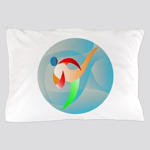 Taekwondo Fighter Kicking Circle Retro Pillow Case