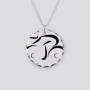 cycling Necklace Circle Charm