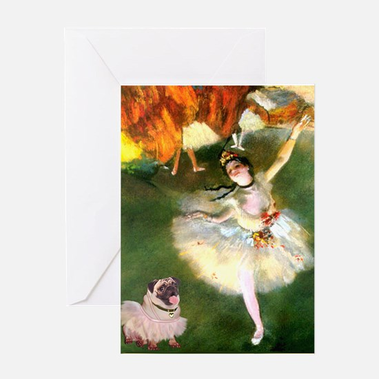 Dancer 1 & fawn Pug Greeting Card