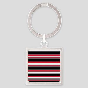 Horizontal Stripes Pattern: Cherry Square Keychain