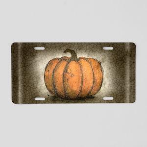 Pumpkin Ink Illustration Aluminum License Plate